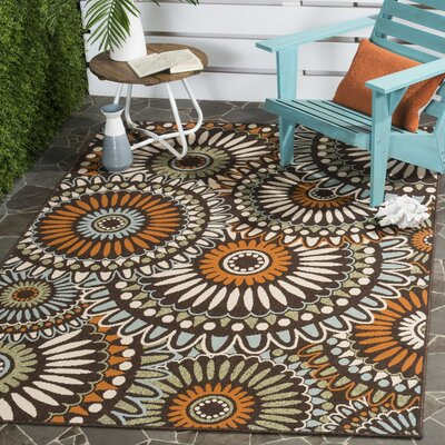 Tierney Beige/Green/Orange Indoor/Outdoor Area Rug Rug Size: Rectangle 67 x 96