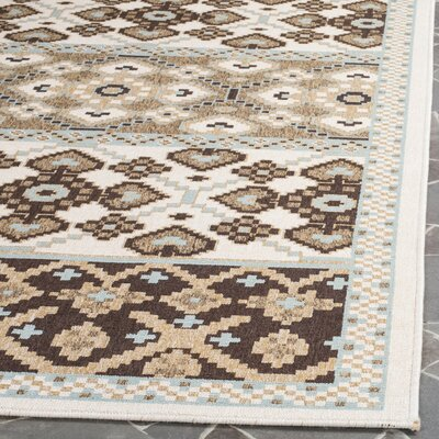 Tierney Cream/Chocolate Indoor/Outdoor Area Rug Rug Size: 4 x 57