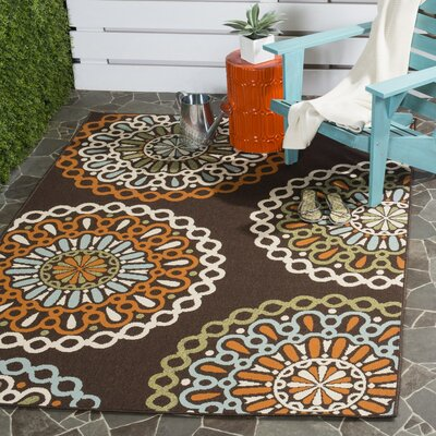 Tierney Chocolate/Terracotta Area Rug Rug Size: 53 x 77