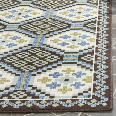 Tierney Blue/Chocolate Indoor/Outdoor Area Rug Rug Size: 53 x 77