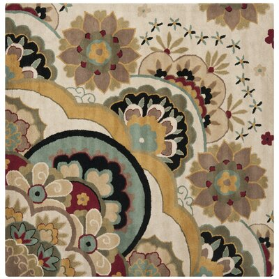 Armstrong Tufted  Ivory Rug Rug Size: Square 6