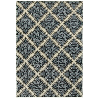 Boykins Ivory/Blue Area Rug Rug Size: Rectangle 6'7