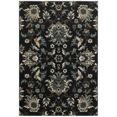 Boykins Flowers Navy/Blue Area Rug Rug Size: Rectangle 5'3