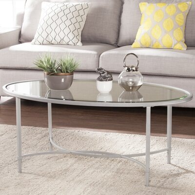 Buloke Metal/Glass Oval Coffee Table