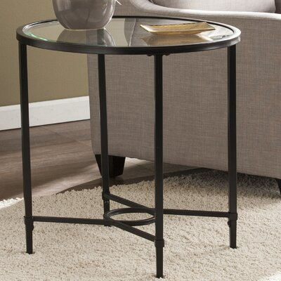 Buloke Metal/Glass Oval End Table Finish: Black