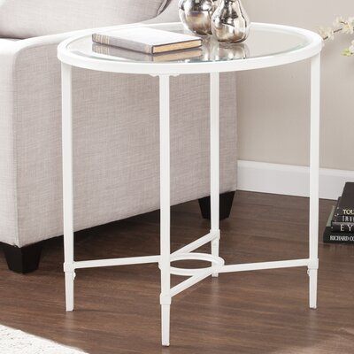 Buloke Metal/Glass Oval End Table Color: White