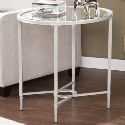 Buloke Metal/Glass Oval End Table Finish: Silver