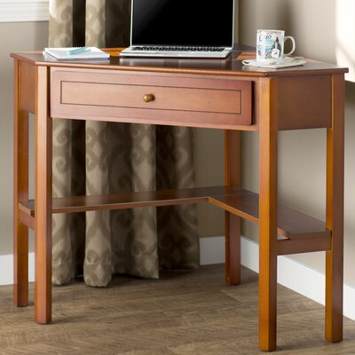 Anka 1 Drawer Corner Writing Desk Finish: Cherry