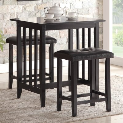 Richland 3 Piece Counter Height Pub Table Set Finish: Black