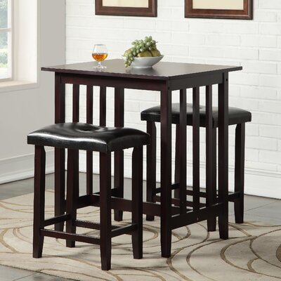 Richland 3 Piece Counter Height Pub Table Set Finish: Espresso
