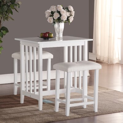 Richland 3 Piece Counter Height Pub Table Set Color: White