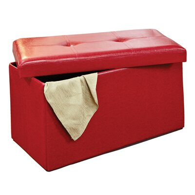 Ridgedale Double Folding Storage Ottoman Upholstery: Red