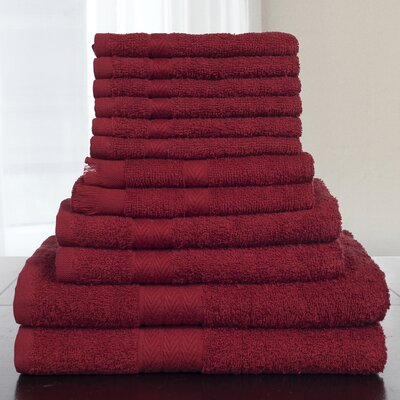 12 Piece Towel Set Color: Burgundy