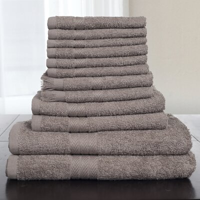 12 Piece Towel Set Color: Taupe
