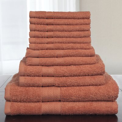 12 Piece Towel Set Color: Brick