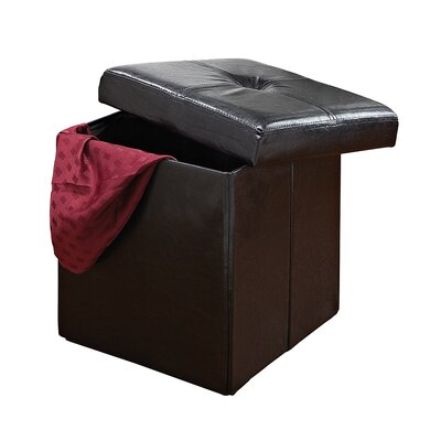 Rockville Single Folding Upholstered Storage Ottoman Upholstery: Black