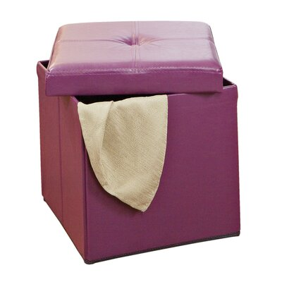 Rockville Single Folding Upholstered Storage Ottoman Upholstery: Purple