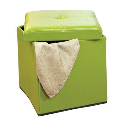 Rockville Single Folding Upholstered Storage Ottoman Upholstery: Lime