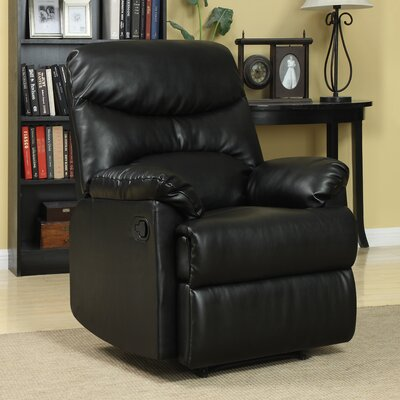 Rossville Chaise Manual Wall Hugger Recliner Upholstery: Black