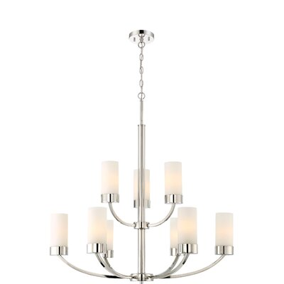 Sanderson 9-Light Shaded Chandelier Finish: Matte Nickel