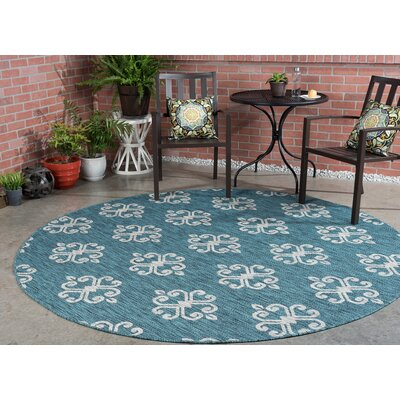 Bella Transitional Teal Indoor/Outdoor Area Rug Rug Size: Round 710