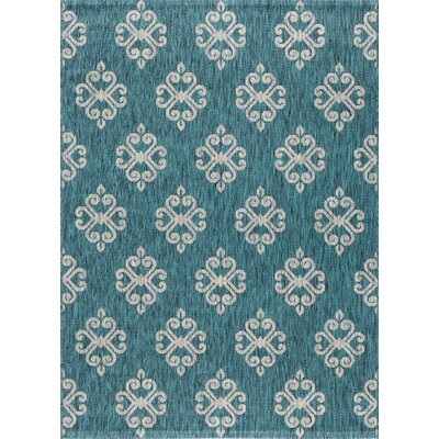 Bella Transitional Teal Indoor/Outdoor Area Rug Rug Size: 53 x 73