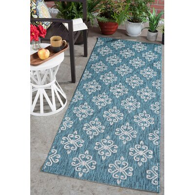 Bella Transitional Teal Indoor/Outdoor Area Rug Rug Size: Runner 27 x 73