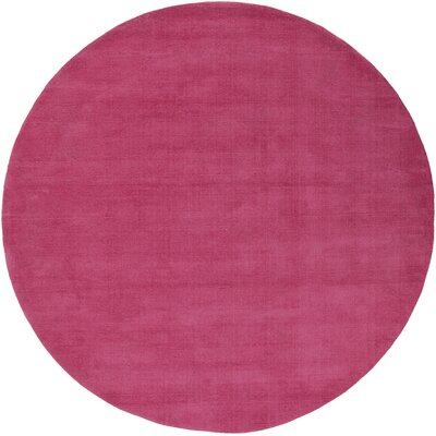Naples Hand Woven Magenta Area Rug Rug Size: Round 8