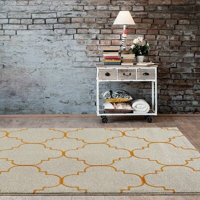 Carmichael Cream/Orange Indoor/Outdoor Area Rug Rug Size: 52 x 72