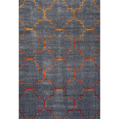 Carmichael Gray/Orange Indoor/Outdoor Area Rug Rug Size: 52 x 72