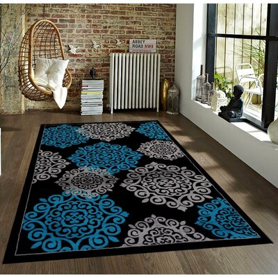 Alanson Turquoise/Black Indoor/Outdoor Area Rug Rug Size: 5 x 7