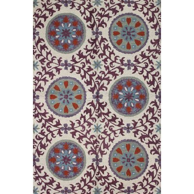 Sanda Ivory/Lilac Rug Rug Size: 36 x 56