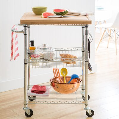 Taunton Kitchen Cart with Wood Top