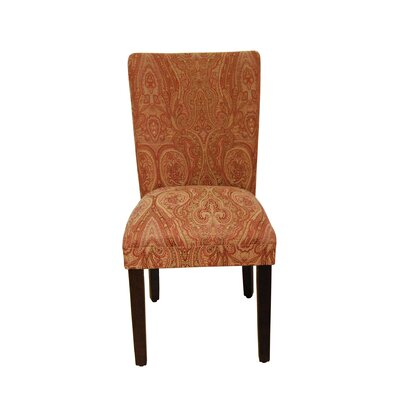 Tenbury Classic Upholstered Parsons Chair Upholstery: Coral Orange / Gold Damask