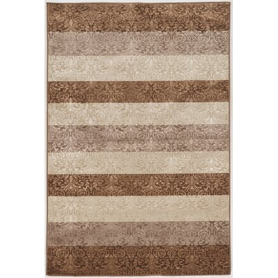 Barron Damask Stripes Brown/Beige Area Rug Rug Size: 5 x 76
