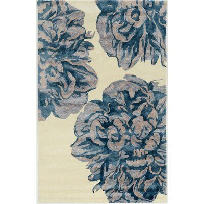 Bryana Hand-Tufted Ivory/Blue Area Rug Rug Size: Rectangle 2 x 3