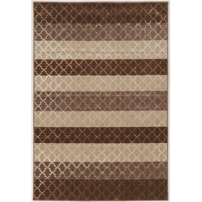 Madalyn Trellis Strips Brown/Beige Area Rug Rug Size: 8 Round