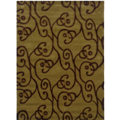 Marisela Hand-Tufted Green/Brown Area Rug Rug Size: 110 x 210