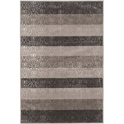 Barron Damask Stripes Gray Area Rug Rug Size: 8 x 103