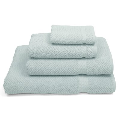 Herringbone Weave 100% Turkish Cotton 4 Piece Towel Set Color: Soft Aqua