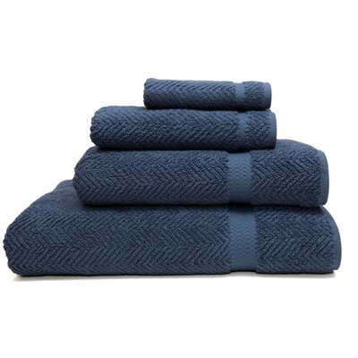 Herringbone Weave 100% Turkish Cotton 4 Piece Towel Set Color: Midnight Blue