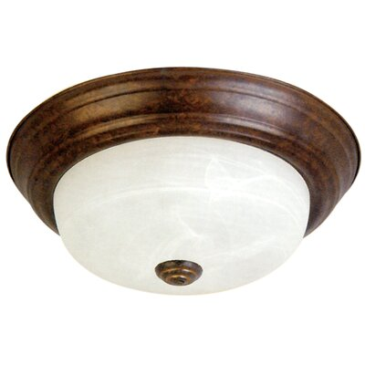Benedict 2-Light Flush Mount Finish: Dark Brown, Size: 4.5 H x 11 W x 11 D