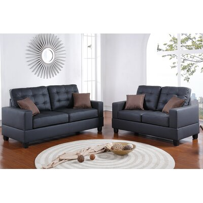 Cheyne 2 Piece Sofa and Loveseat Set Upholstery: Black
