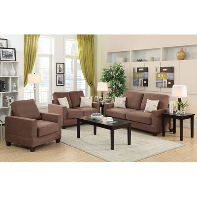 Vanderbilt 3 Piece Sofa and Loveseat with Chair Set Upholstery Color: Brown