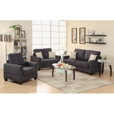 Vanderbilt 3 Piece Sofa and Loveseat with Chair Set Upholstery Color: Gray