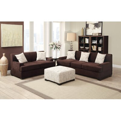 Veedersburg 2 Piece Living Room Set Upholstery: Chocolate