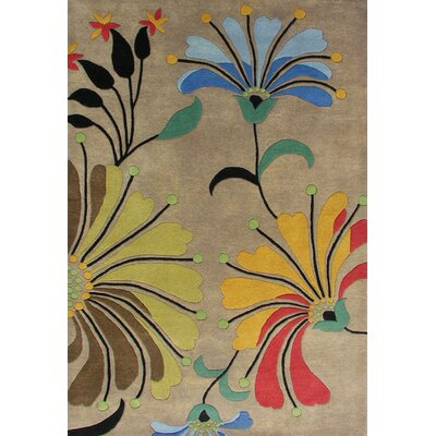 Simonne Hand-Tufted Brown Area Rug Rug Size: 6 x 9