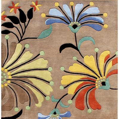 Simonne Hand-Tufted Brown Area Rug Rug Size: Square 6