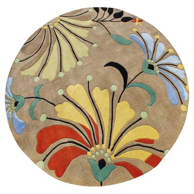 Simonne Hand-Tufted Brown Area Rug Rug Size: Round 8