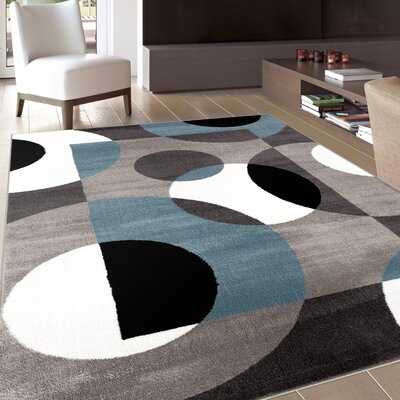 Benfer Geometric Gray Area Rug